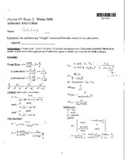 Physics 471 Exam 2 - Winter 2008 - solutions