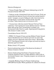 Historical Background, Famous Anthropoligsts and Dates for Midterm (Include Chapter 1-4)