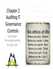 Chap02 Auditing IT Gov. Controls - MWF1 - IT Gov. & Centralized Model.pptx