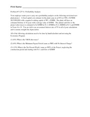 Problem # 5 Exam 2 Profitability Analysis