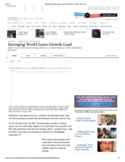 Emerging World Loses Lead in Economic Growth - WSJ