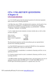 chapter 4 The Income Statement and Statement of Cash Flows cpa cma question