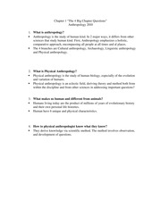 Anthro2010 Chapter 1 Big 4 questions