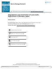 Makoto Omori_Degradation and restoration of coral reefs