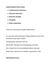 Health Related Fitness Notes