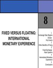 CHAPTER 8 FIXED VERSUS FLOATING INTERNATIONAL MONETARY EXPERIENCE.ppt