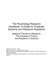 Applying Theories to Research - The Interplay of Theory and Research in Science