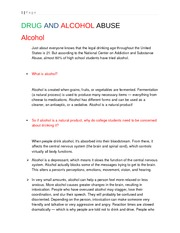 DRUG AND ALCOHOL ABUSE (My version)