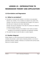 LESSON 15 - INTRODUCTION TO REGRESSION THEORY AND APPLICATION
