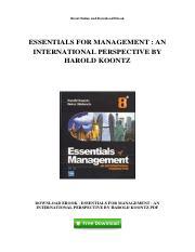 Essentials Of Management By Harold Koontz Pdf