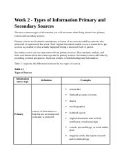 Week 2 - Types of Information Primary and Secondary Sources