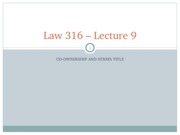 LAW316 Lecture 9