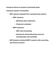 Enterprise Resource System Functionality Notes