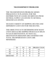 TRANSSHIPMENT PROBLEMS for students