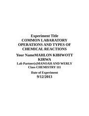 COMMON LABARATORY OPERATIONS AND TYPES OF CHEMICAL REACTIONS
