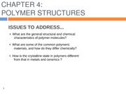 Chapter 4- Structure of polymers