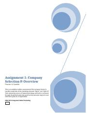 MBA 6012 ASSIGNMENT 1    COMPANY SELECTION & OVERVIEW.docx