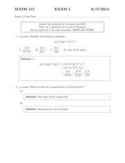 MATH 115 Fall 2014 Exam 1 Solutions