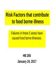 Lisa University Sanitarian Presentation HB 265 on Jan 24_Risk factor one only.ppt