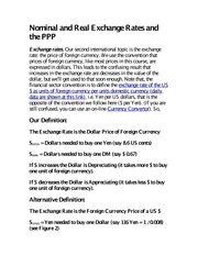 Nominal and Real Exchange Rates and the PPP notes