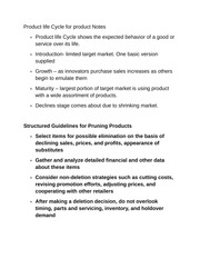 Product life Cycle for product Notes