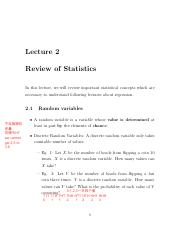 Lecture 2 Statistics Review