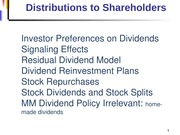 Distributions to Shareholders - Dividends and Stock Repurchases