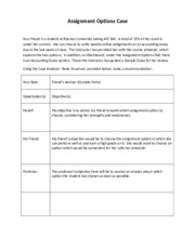 Assignment Options Case - Week 1 Handout