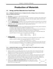 chemistry production of materials notes