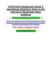 PSYCH 625 Assignment Week 3 Identifying Statistical Tests in the Literature Worksheet (New Syllabus)
