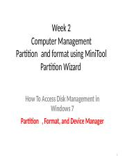Week 2-Partition  and format
