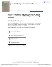 Emotions and Information Diffusion in Social Media-Sentiment of Microblogs and Sharing Behavior