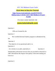 ACC 562 Midterm Exam Guide