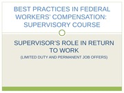 Supervisors Role in Return to Work (WCC 2014)