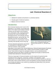 Lab Chemical Reactions II