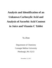 Analysis and Identification of an Unknown Carboxylic Acid and Analysis of Ascorbic Acid Content in J