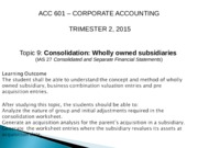 ACC601- Week 8 Lecture 8- Consolidation Wholly Owned Subsidiaries