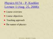 Phys 0174 - Lecture 1