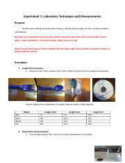 Lab 2a_Sample Lab Report Laboratory Techniques and Measurements