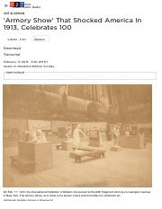'Armory Show' That Shocked America In 1913, Celebrates 100 : NPR.pdf
