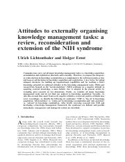 Lichtenthaler.Attitudes to externally organising knowledge management tasks.a review, reconsideratio