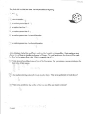 AP STAT - Probability Worksheet