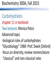 Biochem 300A Fall 2015 Palcic Carbohydrates 2 lectures Advanced Topic