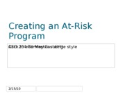 Assignment Creating an At-Risk Program