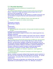 Micro Bio Chapter 7 Learning Objectives