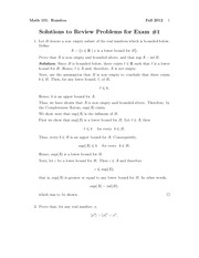 Exam 1 Review Problem Set Solution Fall 2012 on Introduction to Analysis