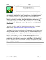 Assignment 6 Resume writing