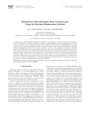 [2300262X - Archives of Acoustics] Estimation of Reverberation Time in Classrooms Using the Residual
