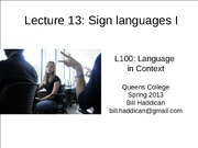 Lecture 13 Sign Languages