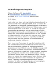 An Exchange on Baby Doe
